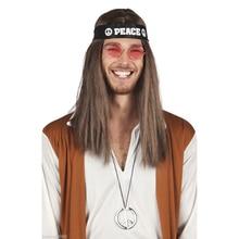 3 pcs set Cool Hippy 60s 70s Peace Headband Glasses Necklace Men Fancy Dress Boys Sunglasses Decor