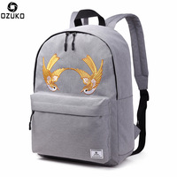 OZUKO Men Women Backpack Embroidery Craft Bird Solid Color School Bags for Teenager Girls Boys Unisex Travel Bag Nylon Rucksack