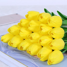 Artificial Flower Silk Tulip Home-Decoration White Yellow Real-Touch High-Quality Bouquet