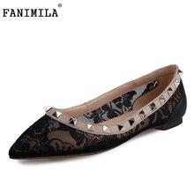 Women Pointed Toe Flat Shoes Woman New Design Lace Fretwork Shoes Fashion Rivets Flat Shoes Woman Size 35-46 B265