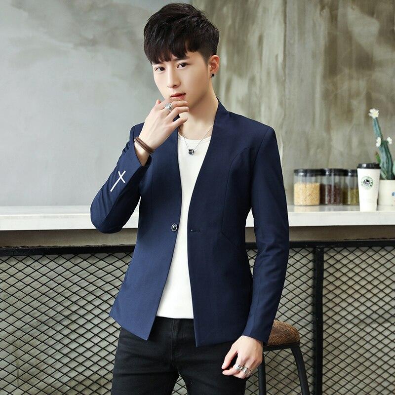 100% Wahr 2018 Mens Chinesischen Tunika Anzug Casual Blazer Schwarz Grau Blau Kurze Chinesischen Stil Tropfen-verschiffen Slim Fit M-3xl Polyester Viskose