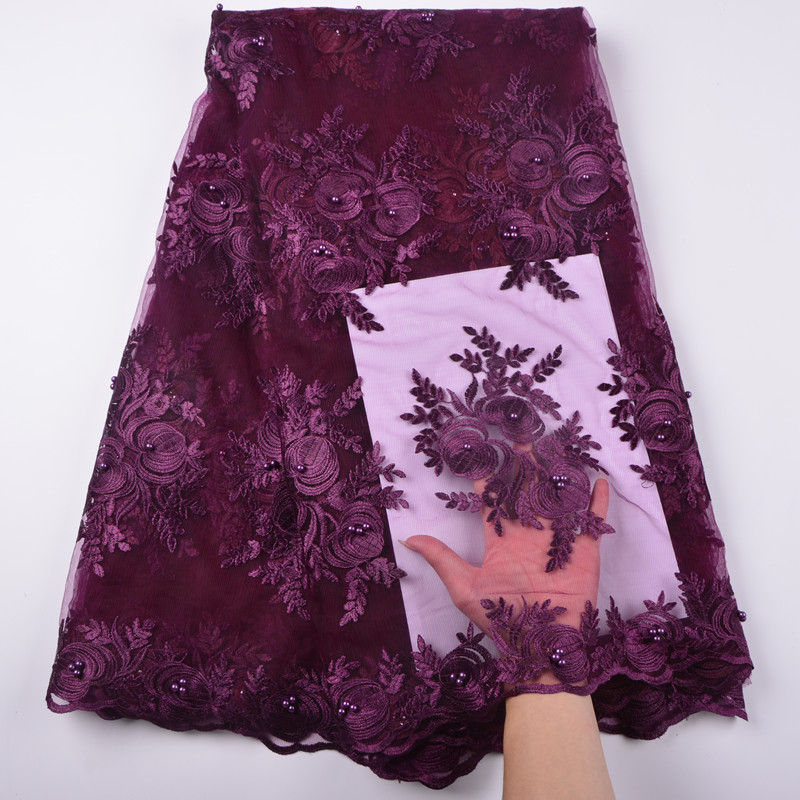 Hot Selling African Tulle Lace Fabric 2018 High Quality Best Purple Nigerian Lace Fabric For Embroidery