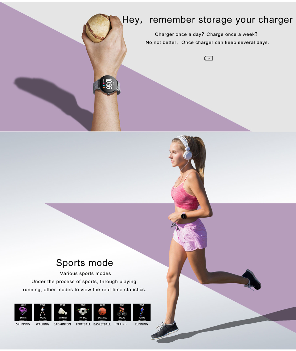 Sport watch smart tempered glass, waterproof, Android IOS Charging