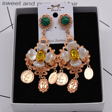 Charmcci Antique gold color exaggerated flower drop earrings for women crystal party big earring
