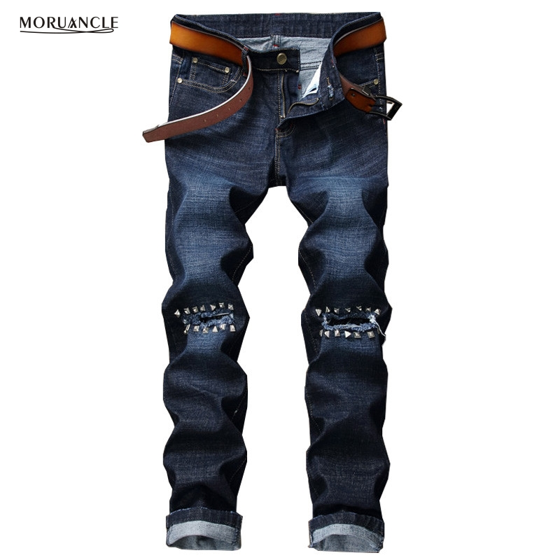 MORUANCLE New Fashion Mens Ripped Jeans Pants With Rivets Slim Fit Straight Distressed Denim Joggers Male Blue Hip Hop Trousers
