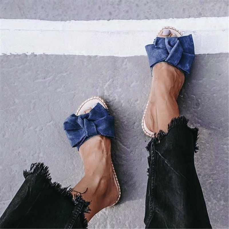 HEFLASHOR/женские летние сандалии с бантиком; женская модная обувь; Домашние уличные шлепанцы; пляжная обувь