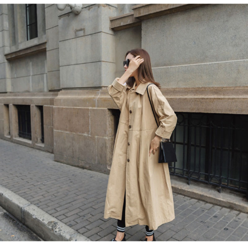 trench   coat female 2018 spring autumn Korean Skirt type loose boyfriend Loose khaki windbreaker casual outwear overcoat femme