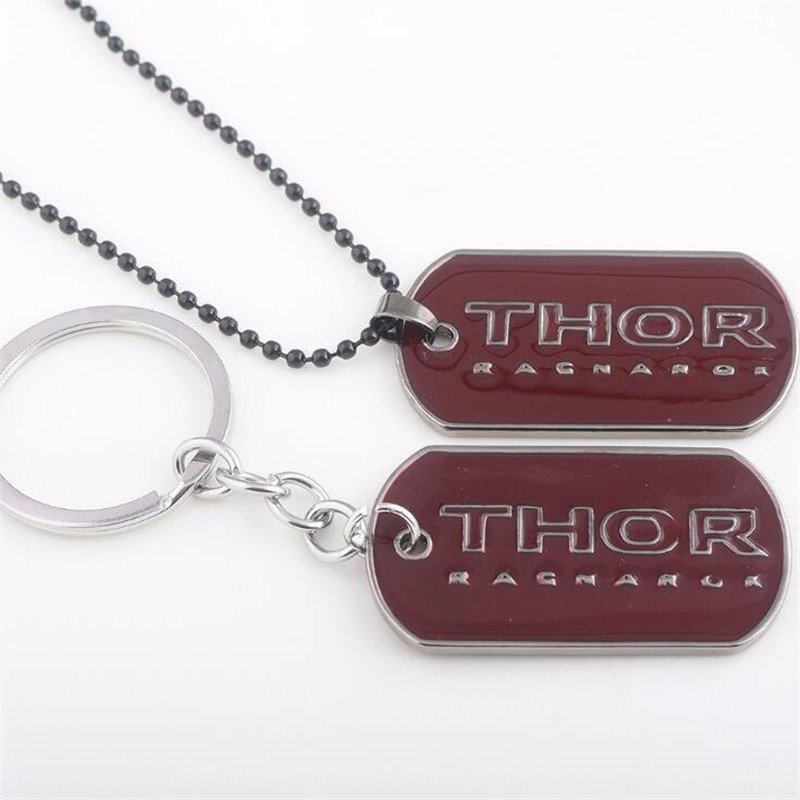 Hot New Movie The Avengers  Thor Key Chain Necklace Cosplay Costumes Letter Logo Badge Metal Accessory  Keychain Small Gift