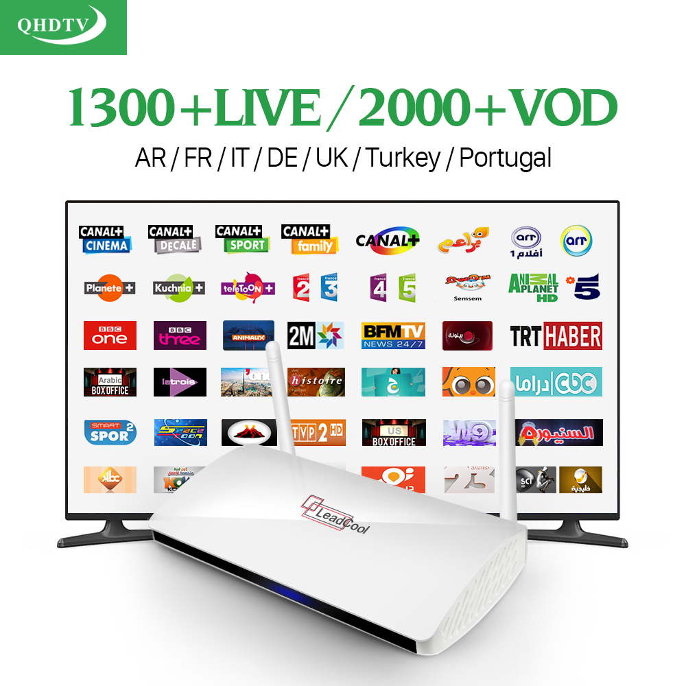 Prix pour HD stb Quad Core Android Smart TV Box 1300 + Arabe IPTV compte D'abonnement qhdtv Canaux Français iptv Set Top Box Media Player