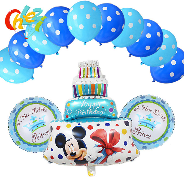 Remarkable 13Pcs Lot Boy Girl Minnie Mickey Birthday Cake Foil Balloons For Funny Birthday Cards Online Elaedamsfinfo