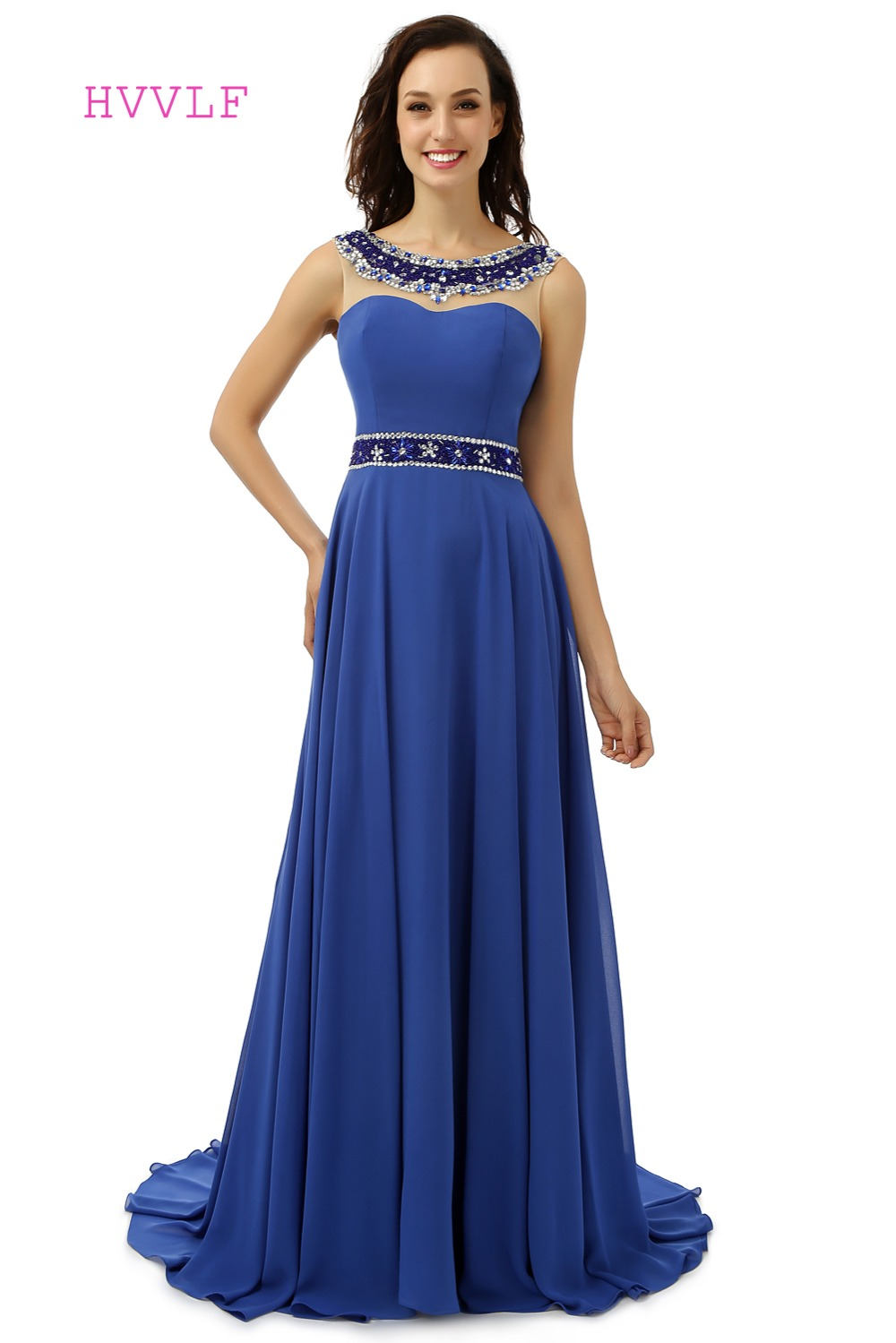 Royal Blue Robe De Soiree 2019 A-line Scoop Chiffon Beaded Crystals Women Backless Long   Prom     Dresses     Prom   Gown Evening   Dresses