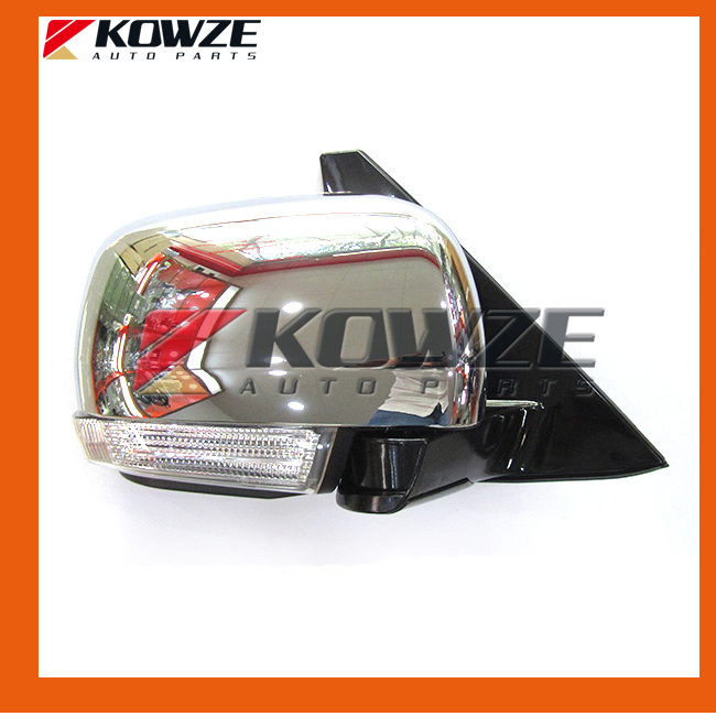 Chrome Electric Control Heat Fold Antifog Side Mirror With Signal Lamp for Mitsubishi Pajero Montero Shogun 4 IV after 2007 2007 2017 lancer auto fold side mirror 7 wires with lamp for mitsubishi lancer rear mirror with turning signal lamp no painting