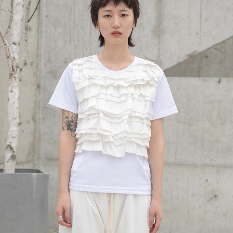Z-ZOUX femmes T Shirt volants Patchwork à manches courtes coton t-shirt femmes noir blanc coton t-shirt femmes vêtements 2019 Nw mode