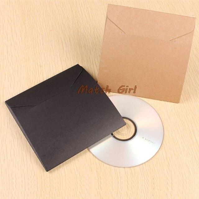 50pcs-13*13 cm Trống Kraft Giấy Đen Peper CD Túi cho Bìa DVD Bao Bì Phong Bì Wedding Party Favor Quà Tặng túi