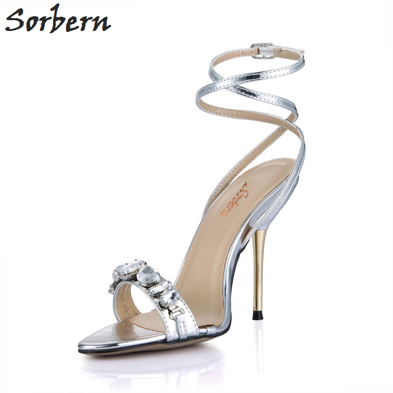 Sorbern Women Sandal Shoes 2018 Gold Metal Thin High Heels Buckle Strap Crystal Sandals Women Summer Shoes Real Image 2015 summer new rome sweety shining buckle belt women sandal high heels weomen sandal breathable comfort women sandals e937