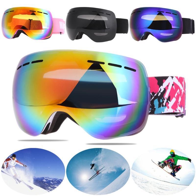 Anti-slip Unisex Skiing Eyewear Anti-UV Double Layer Anti-fog Lens Skiing Goggles UV400 Spherical Cycling Sports Glasses