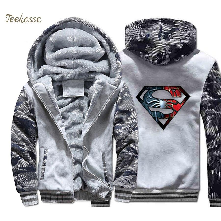Superman Punisher Jacket Men Crossfit Hooded Sweatshirt Cool Coat Mens Winter Thick Fleece Warm Zip up Graphics Design Hoodie