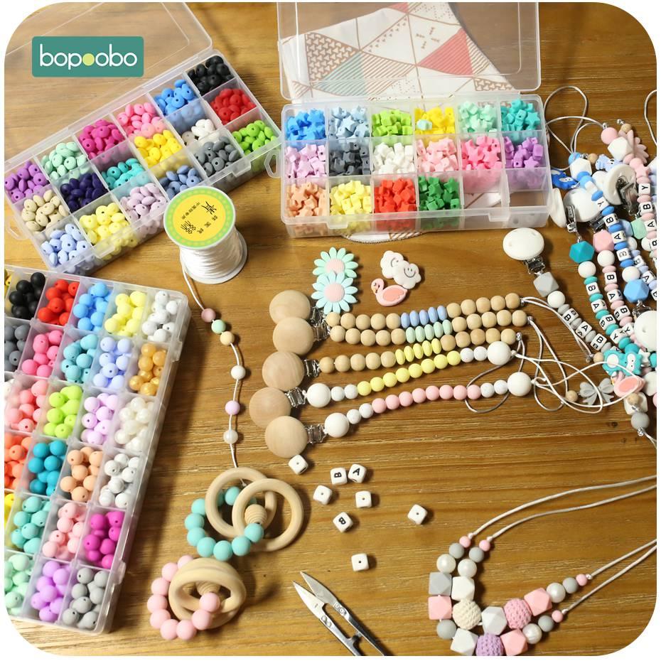 Купить с кэшбэком Bopoobo 15mm 10pc Silicone Beads Food Grade Silicone Baby Teething Products Chews Pacifier Chain Clips Beads Baby Teethers