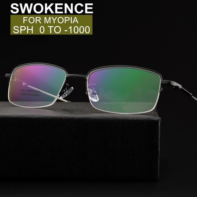SWOKENCE SPH 0 To -12 Prescription GLasses For Myopia Men Women Memory Titanium Alloy Half Frame Spectacles Shortsighted WP019