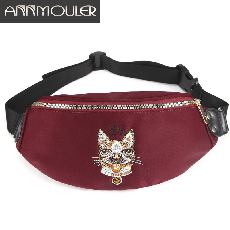 Annmouler Fashion Women Waist Bag Polyester Ladies Fanny Pack Polyester Designer Chest Bag For Girls Large Belt Bum Bag