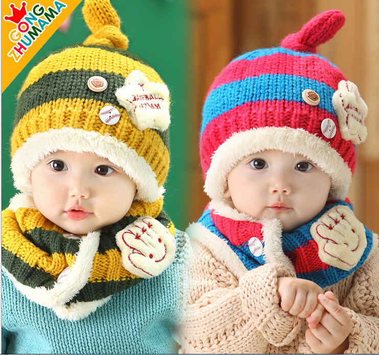 Baby hat baby cap, small baseball cap, and neck, two pieces of autumn/winter wool cap