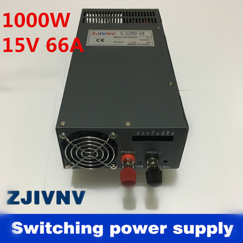 industrial and led used 1000w 15V 66A switching power supply AC to DC power suply input 110v or 220v Top rated, SCN 1000 15