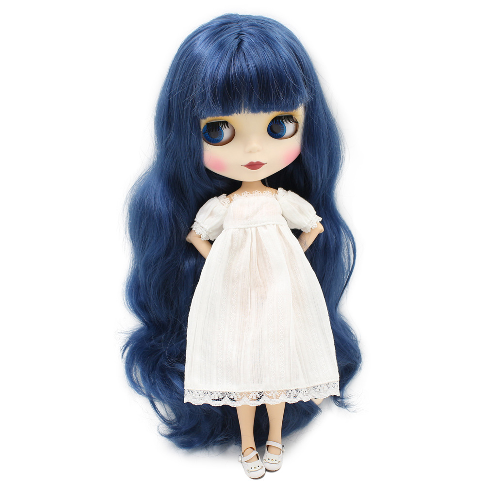 Oyuncaklar ve Hobi Ürünleri'ten Bebekler'de Blythe doll çıplak bebek Uzun Dalgalı Derin Mavi Saç/Hiçbir Patlama 30 cm yüksek Ortak Vücut Mat Yüz DIY bjd oyuncaklar No.280BL6221'da  Grup 1