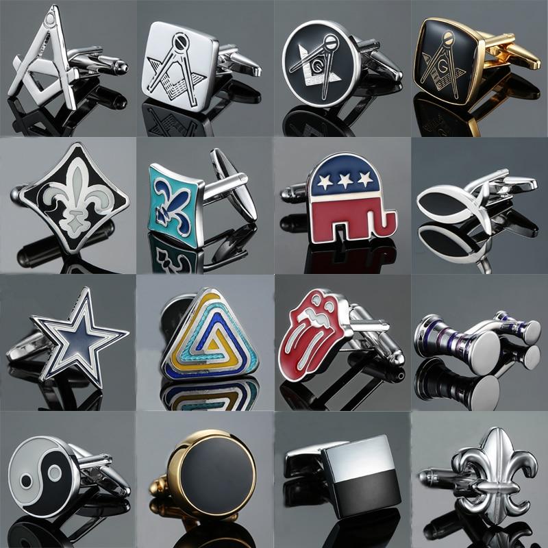 Luxury high quality Cufflinks Elephant fish Spearhead Freemasons Red tongue design cuffs Business Gift Brand Jewelry