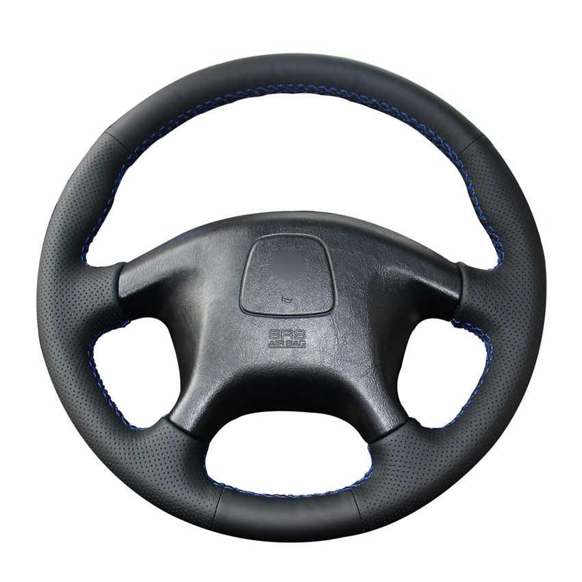 Фото Ручная сшитая черная искусственная кожа PU крышка рулевого колеса автомобиля для