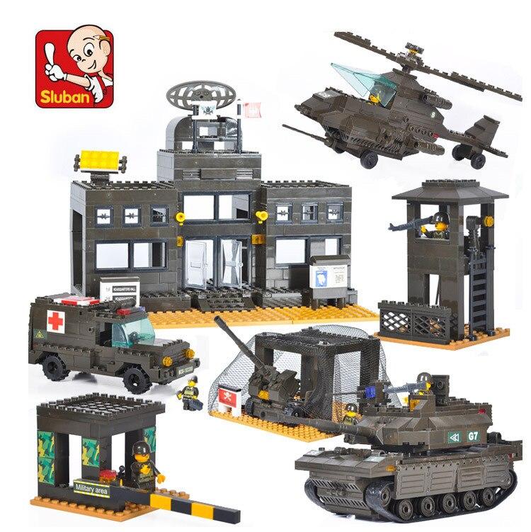 SLUBAN bloc de construction ensemble B7100 l'armée unité réservoir modèle brique jouets éducatifs jouets pour enfants enfants briques jouet noël 7100