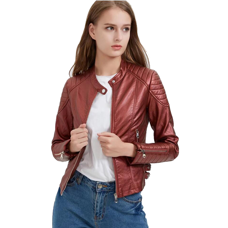 Women short faux   leather   jacket PU Plus size slim fit motorcyle   leather   female outwear clothe casual 2019 autumn High quality