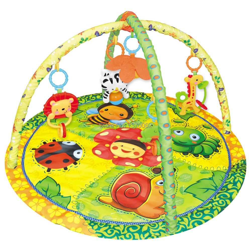 ФОТО 88X88X50Multifunctional Baby Harmless Plastic Fitness Rack Mat Ground Educational Blanket With 5pcs Lovely Bells Animals Rattles