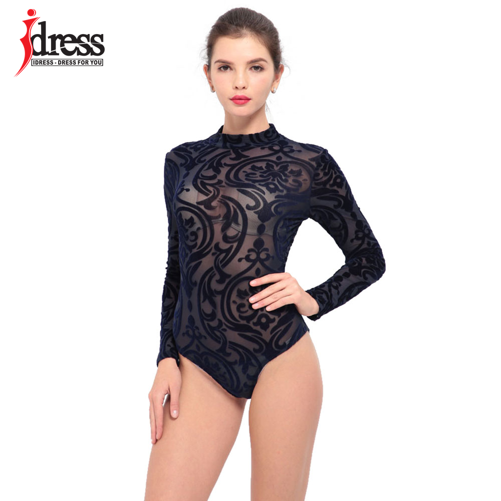 IDress 2017 New Arrival BlackBlue Red Macacao Feminino Mesh Shorts Femme Playsuit Overalls for Woman Long Sleeve Sexy Bodysuit (2)