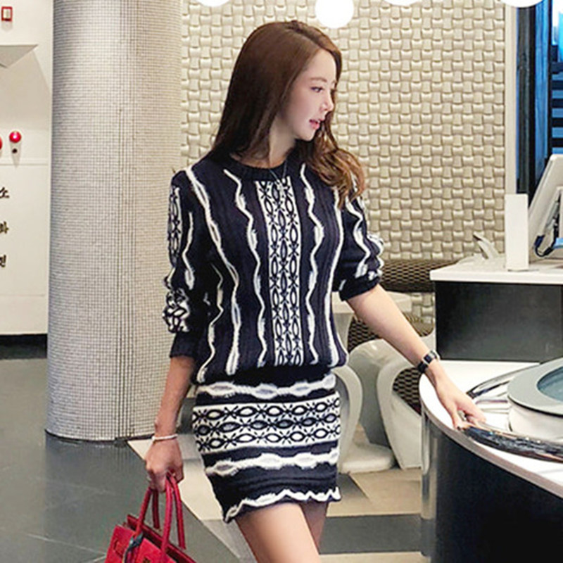 High Quality New 2019 Spring Autumn Sweater Skirt Suit Women 2 Piece Set Long Sleeve O-Neck Knitted Skirt Set Crop+Skirt