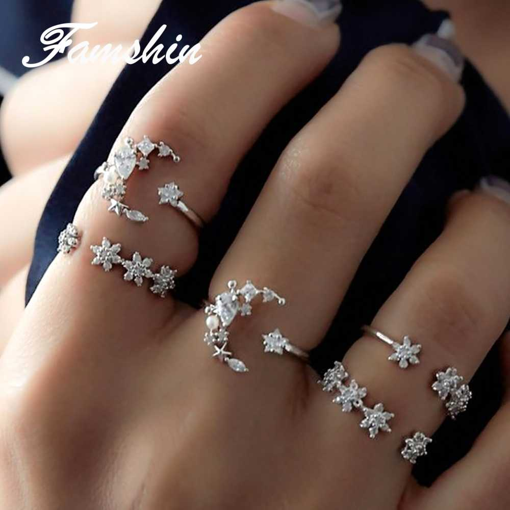 FAMSHIN 5Pcs/Set Fashion Vintage Rings for Women Tiny Crystal Moon Finger Knuckles Ring Set Alliance Female Jewellery Party Gift