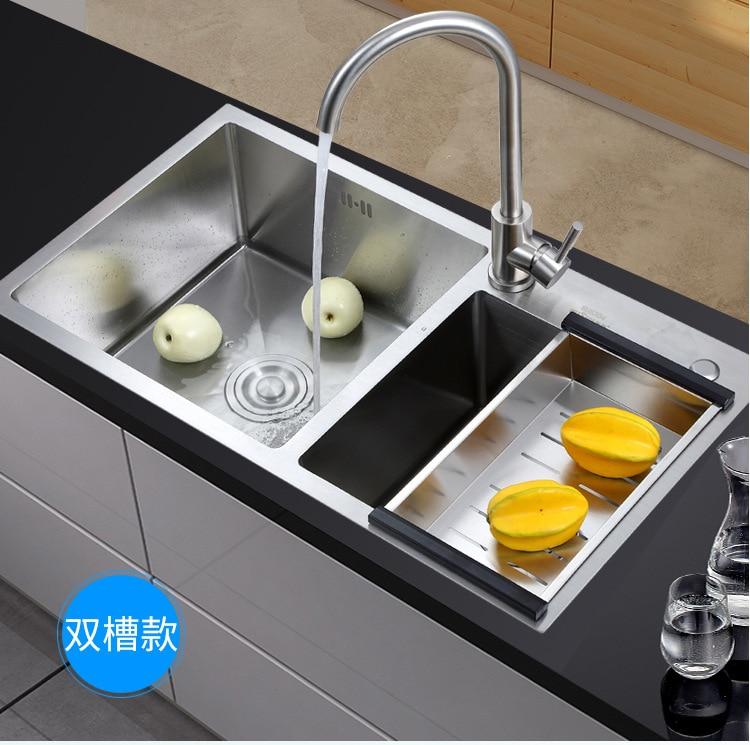 Kitchen Sink Rack: Stainless Steel Kitchen Sink Handmade Brushed Seamless