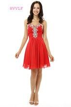 ced1d7cf899d0 Kırmızı Mezuniyet Elbiseleri A-line Sevgiliye Şifon Boncuklu Kristaller  Kısa Mini Sparkly Tatlı 16 Kokteyl Elbiseler 2019