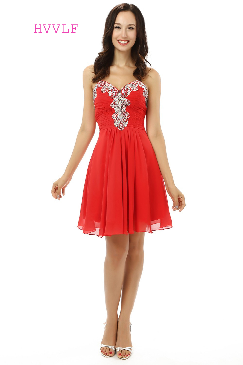 Red Homecoming   Dresses   A-line Sweetheart Chiffon Beaded Crystals Short Mini Sparkly Sweet 16   Cocktail     Dresses   2019