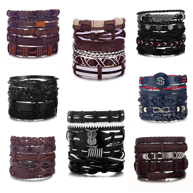 European and American retro punk bracelet combination multi-layer leaf feather pu leather handmade trend bracelet jewelry