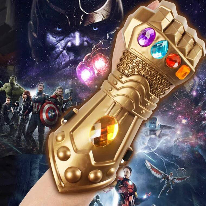 Boys Avengers 3 Infinity War Thanos Gauntlet Moive Figure Model Golden Plastic Gloves Halloween Cosplay Prop Toys For Children