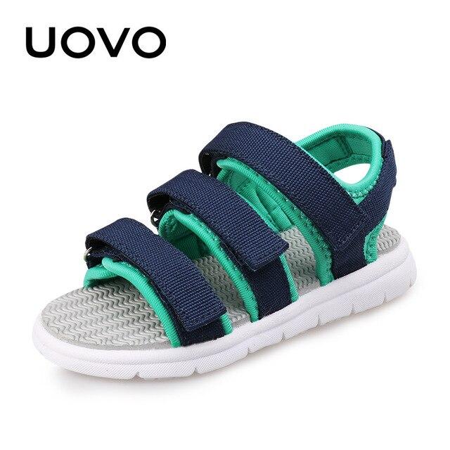 Uovo мальчик сандалии новые летние туфли с открытым носком сандалии для маленьких и больших детей текстильные ремни случайные сандалии eur 30 #-36 #