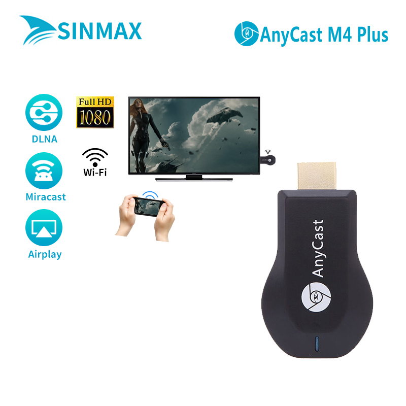 Anycas M4 plus HDMI Media Video Streamer Wi-Fi Display Receiver dongle 1080P Mini PC Android TV Stick adapter Airplay dlna cast