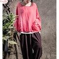 Cair ombro Casuais Preguiçosos Estilo Bolsos Literatura T-shirt de Linho Macio Plus Size Pullovers Tops