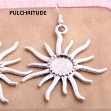 PULCHRITUDE 8PCS Fit 12mm Dia Alloy Antique Silver Sun Round Cabochon Setting Earring Base Fit For Dangle Earring DIY T0629