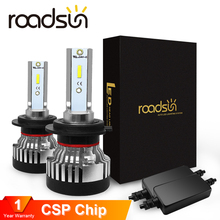 Faro Roadsun, bombilla LED H4 Led H7, faro CSP Chip H11 automotriz 9005 9006 HB4 10000LM 12V 24V, Auto lámparas
