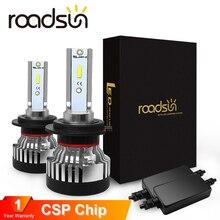 Roadsun farol lâmpada led h4 h7 led farol luz csp chip h11 automotivo 9005 9006 hb4 10000lm 12 v 24 v carro lâmpadas de automóvel