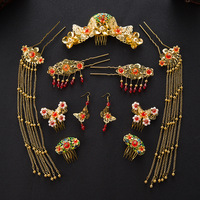 Chinese Style Marry Crystal Jewelry Sets Bridal Headdress Gold Plated Imitation Pearl Wedding Hair Accessories Hairpins