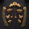 Estilo chinês Casar Com Conjuntos De Jóias de Cristal Nupcial da Mantilha Banhado A Ouro Imitação de Pérolas Brincos de Casamento Acessórios Para o Cabelo Grampos de cabelo