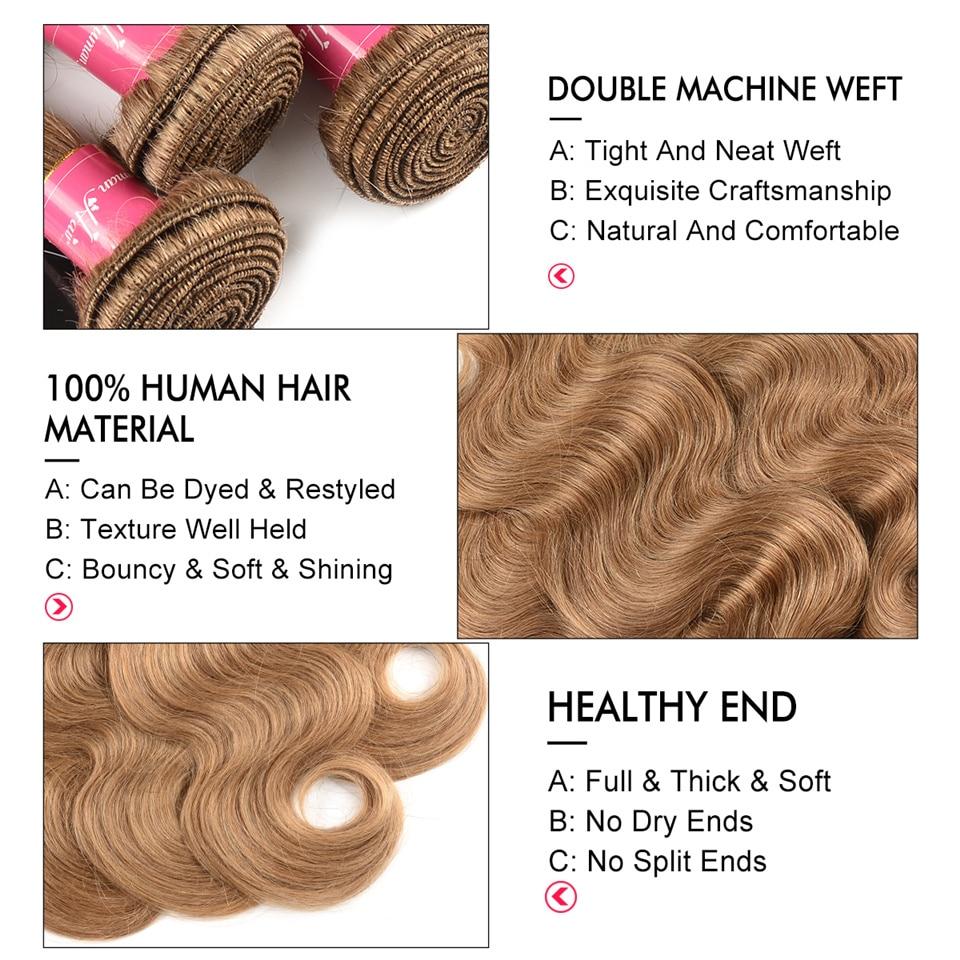 Human Hair Weaves Westkiss Colored #27 Blonde Bundles With Closure Honey Blonde Body Wave Bundles With Closure Bleached Hair Remy Human Hair Weave