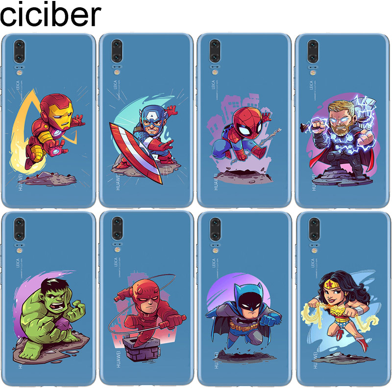 ciciber Marvel for Huawei P20 P30 P10 P9 P8 Lite Pro Plus 2017 Soft Phone Case for Huawei Mate 20 10 9 Lite Pro X Cover Iron Man in Fitted Cases from Cellphones Telecommunications